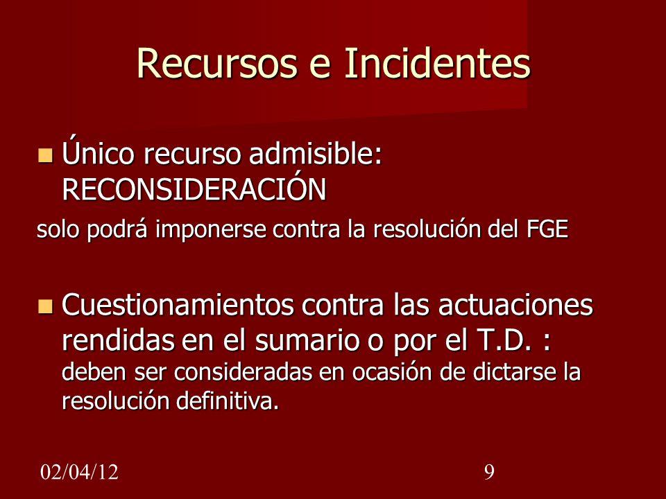 02/04/129 Recursos e Incidentes Único recurso admisible: RECONSIDERACIÓN Único recurso admisible: RECONSIDERACIÓN solo podrá imponerse contra la resol