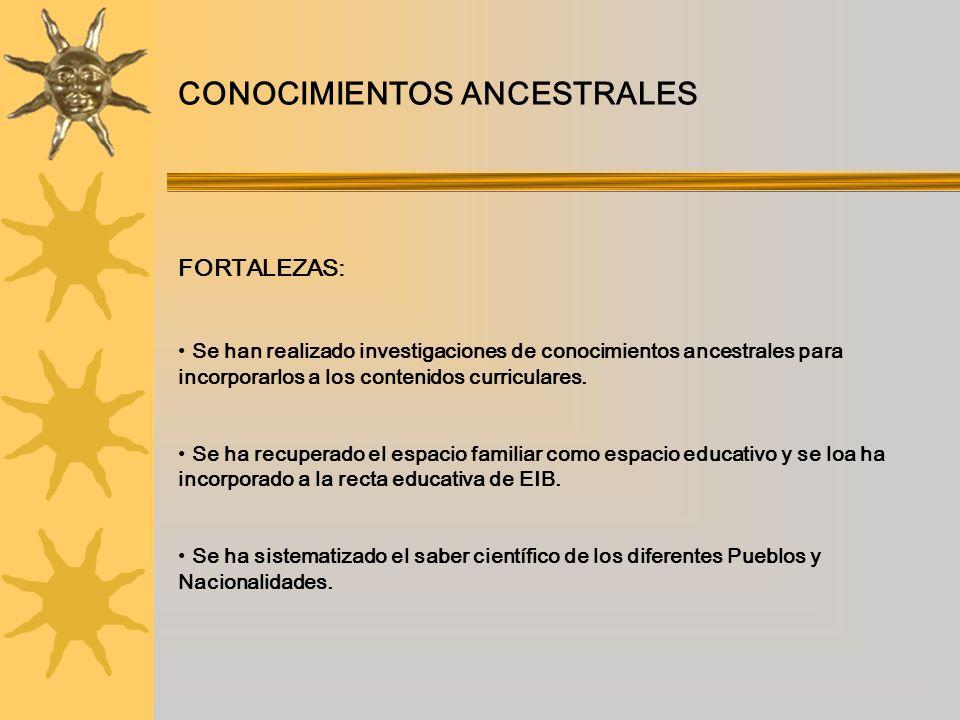 CONOCIMIENTOS ANCESTRALES FORTALEZAS: Se han realizado investigaciones de conocimientos ancestrales para incorporarlos a los contenidos curriculares.