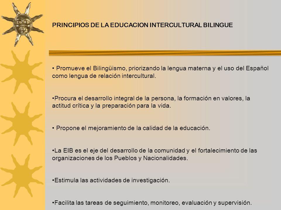 PRINCIPIOS DE LA EDUCACION INTERCULTURAL BILINGUE Promueve el Bilingüismo, priorizando la lengua materna y el uso del Español como lengua de relación