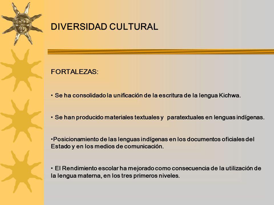 DIVERSIDAD CULTURAL FORTALEZAS: Se ha consolidado la unificación de la escritura de la lengua Kichwa. Se han producido materiales textuales y paratext