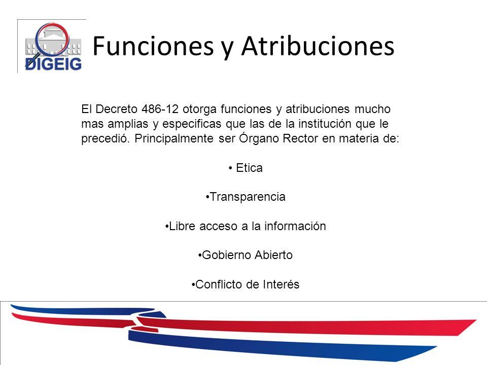Funciones y Atribuciones 1/11/2014 El Decreto 486-12 otorga funciones y atribuciones mucho mas amplias y especificas que las de la institución que le precedió.