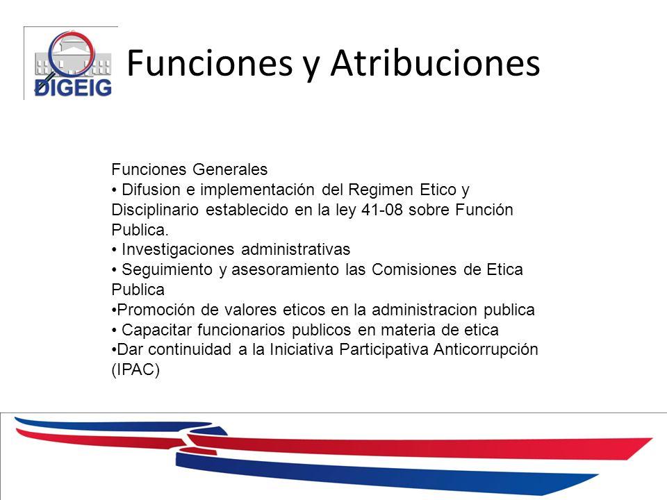 Funciones y Atribuciones 1/11/2014 Funciones Generales Difusion e implementación del Regimen Etico y Disciplinario establecido en la ley 41-08 sobre F
