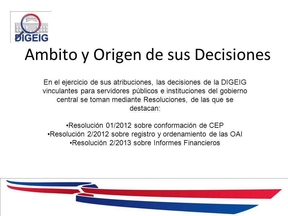 1/11/2014 Ambito y Origen de sus Decisiones En el ejercicio de sus atribuciones, las decisiones de la DIGEIG vinculantes para servidores públicos e in