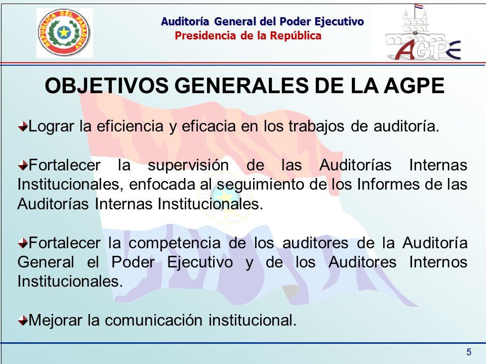 5 Auditoría General del Poder Ejecutivo Presidencia de la República OBJETIVOS GENERALES DE LA AGPE Lograr la eficiencia y eficacia en los trabajos de auditoría.