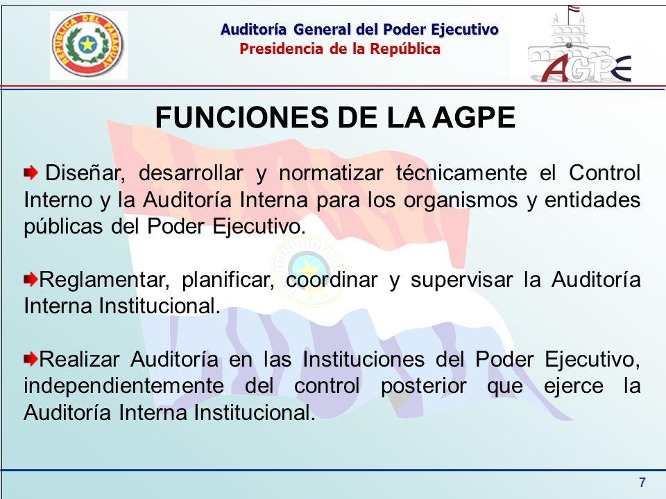 7 Auditoría General del Poder Ejecutivo Presidencia de la República FUNCIONES DE LA AGPE Diseñar, desarrollar y normatizar técnicamente el Control Interno y la Auditoría Interna para los organismos y entidades públicas del Poder Ejecutivo.