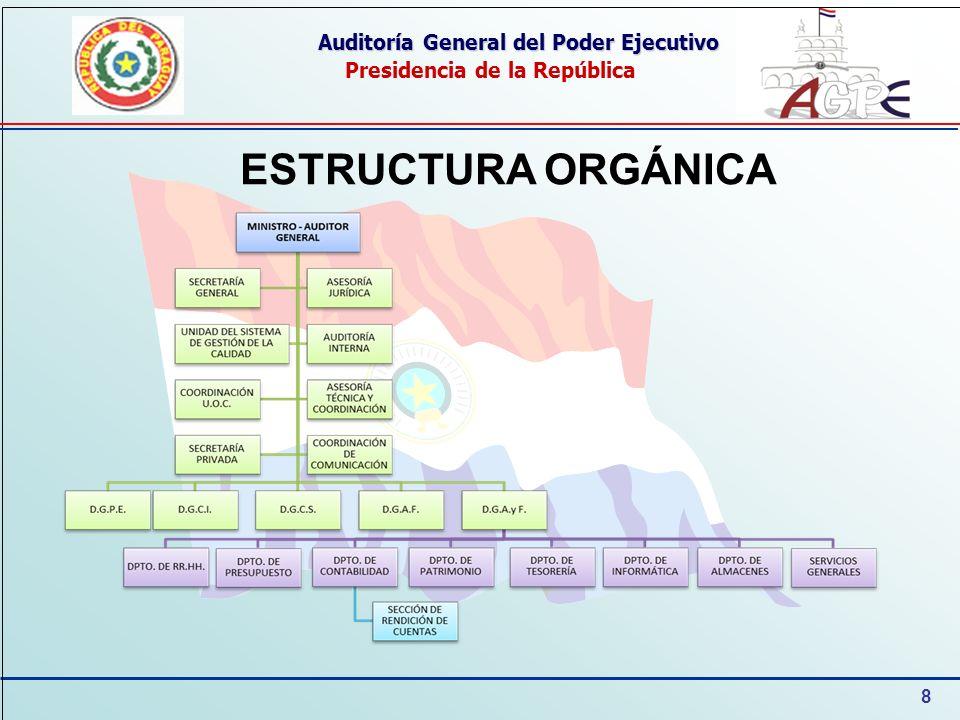 8 Auditoría General del Poder Ejecutivo Presidencia de la República ESTRUCTURA ORGÁNICA
