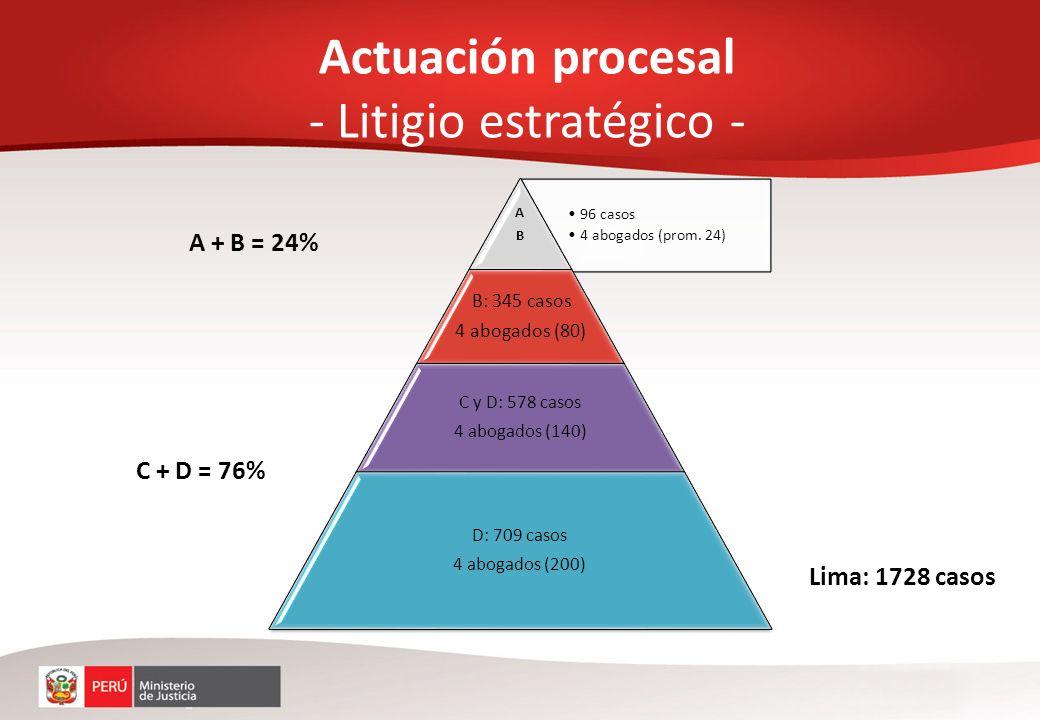 Actuación procesal - Litigio estratégico - 96 casos 4 abogados (prom. 24) ABAB B: 345 casos 4 abogados (80) C y D: 578 casos 4 abogados (140) D: 709 c