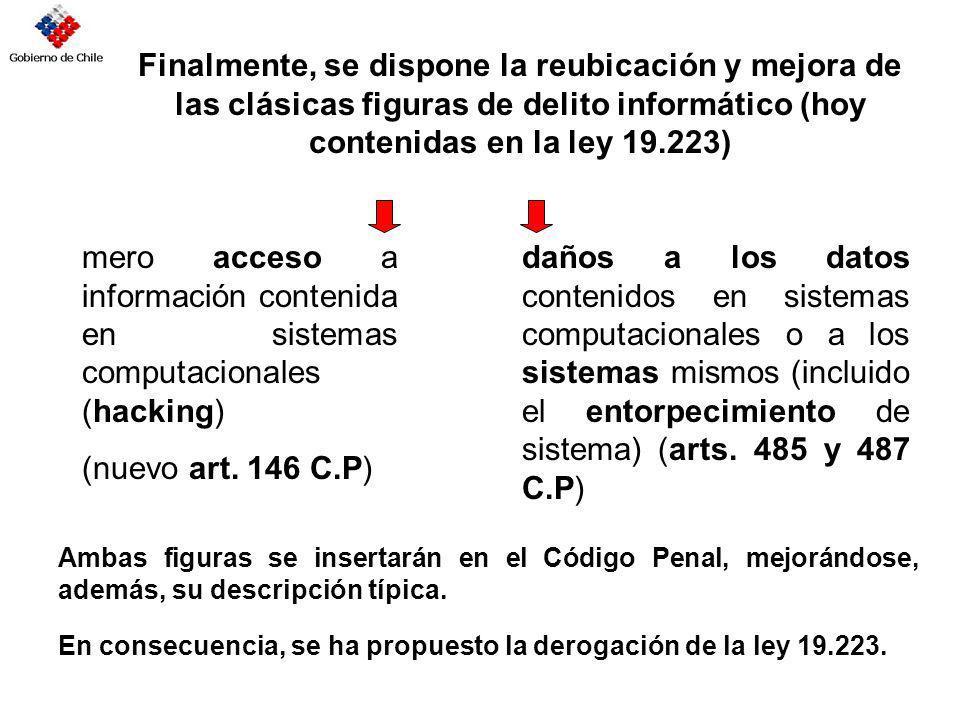Finalmente, se dispone la reubicación y mejora de las clásicas figuras de delito informático (hoy contenidas en la ley 19.223) mero acceso a informaci