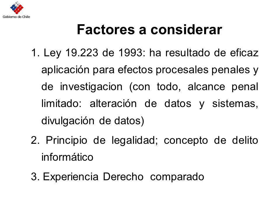 Factores a considerar 1. Ley 19.223 de 1993: ha resultado de eficaz aplicación para efectos procesales penales y de investigacion (con todo, alcance p