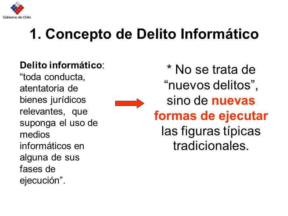 1. Concepto de Delito Informático * No se trata de nuevos delitos, sino de nuevas formas de ejecutar las figuras típicas tradicionales. Delito informá