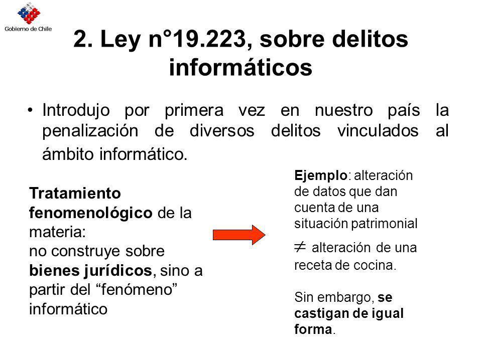 2. Ley n°19.223, sobre delitos informáticos Introdujo por primera vez en nuestro país la penalización de diversos delitos vinculados al ámbito informá