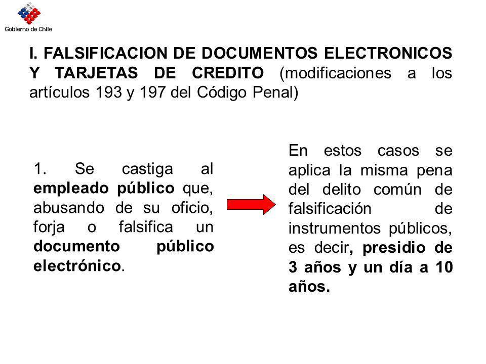 I. FALSIFICACION DE DOCUMENTOS ELECTRONICOS Y TARJETAS DE CREDITO (modificaciones a los artículos 193 y 197 del Código Penal) 1. Se castiga al emplead