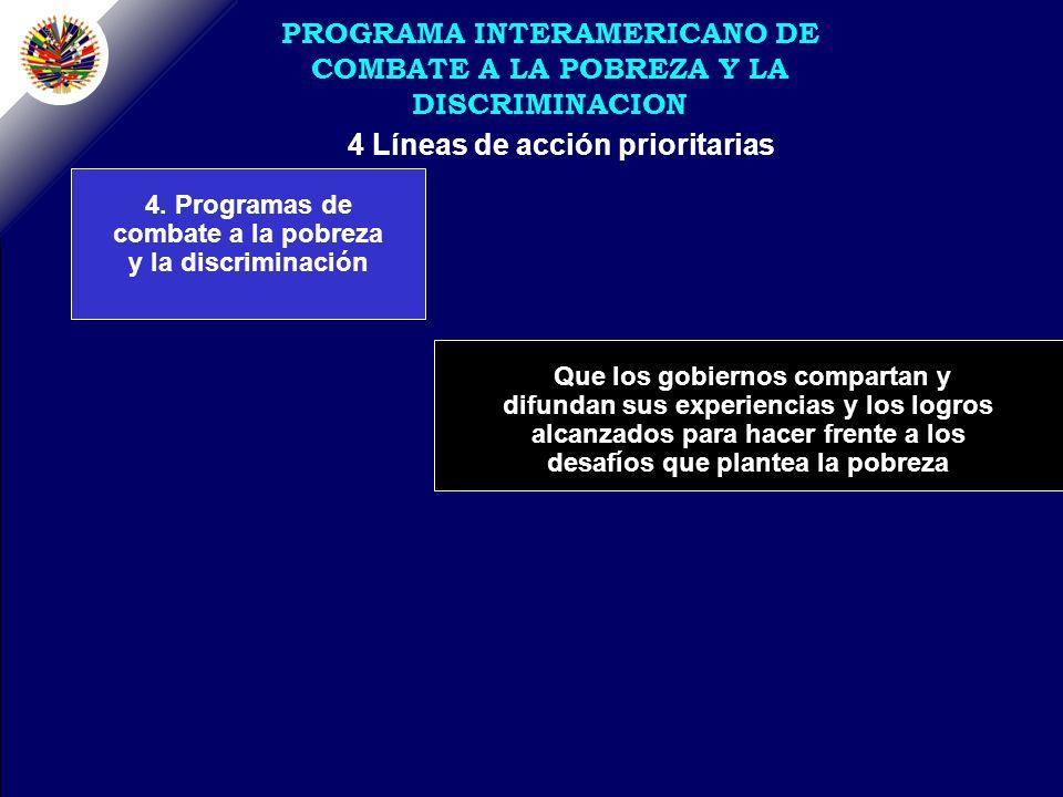 4 Líneas de acción prioritarias PROGRAMA INTERAMERICANO DE COMBATE A LA POBREZA Y LA DISCRIMINACION 4.