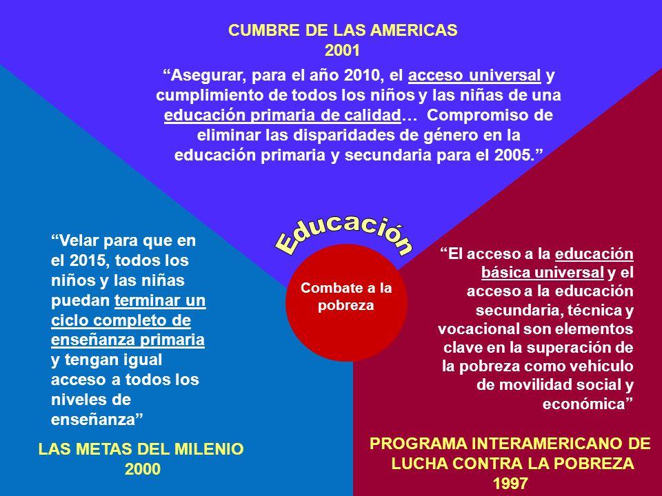 LAS METAS DEL MILENIO 2000 CUMBRE DE LAS AMERICAS 2001 PROGRAMA INTERAMERICANO DE LUCHA CONTRA LA POBREZA 1997 Combate a la pobreza Velar para que en el 2015, todos los niños y las niñas puedan terminar un ciclo completo de enseñanza primaria y tengan igual acceso a todos los niveles de enseñanza El acceso a la educación básica universal y el acceso a la educación secundaria, técnica y vocacional son elementos clave en la superación de la pobreza como vehículo de movilidad social y económica Asegurar, para el año 2010, el acceso universal y cumplimiento de todos los niños y las niñas de una educación primaria de calidad… Compromiso de eliminar las disparidades de género en la educación primaria y secundaria para el 2005.