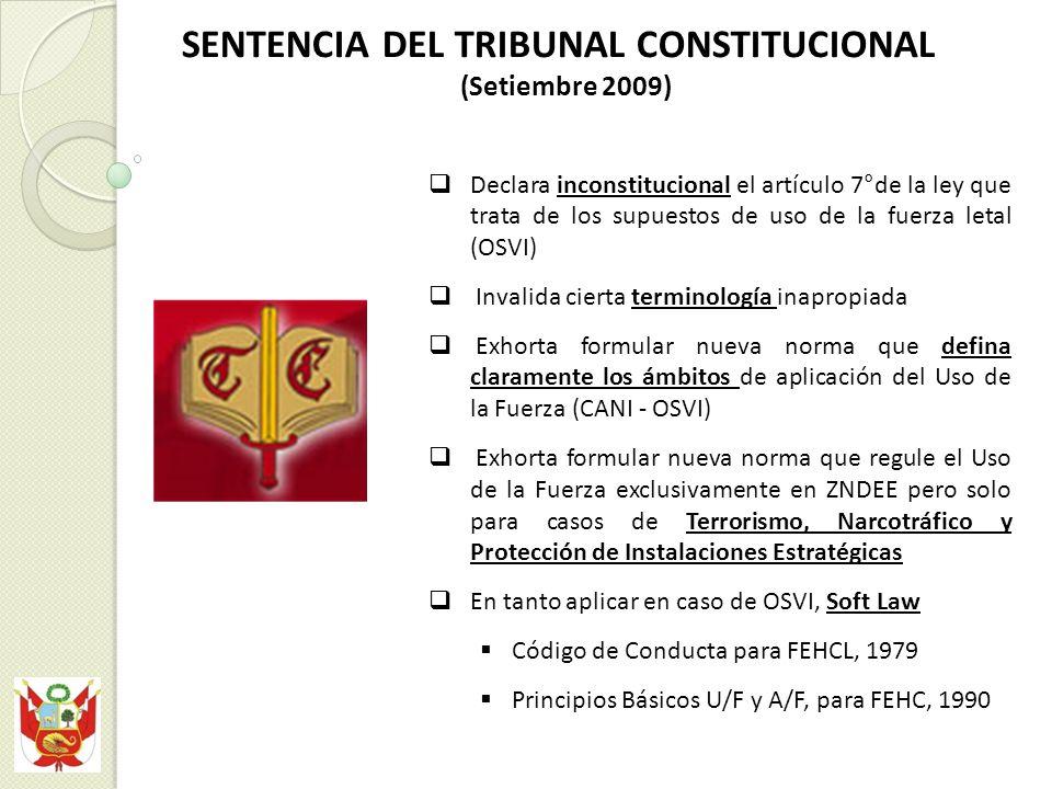 Declara inconstitucional el artículo 7°de la ley que trata de los supuestos de uso de la fuerza letal (OSVI) Invalida cierta terminología inapropiada