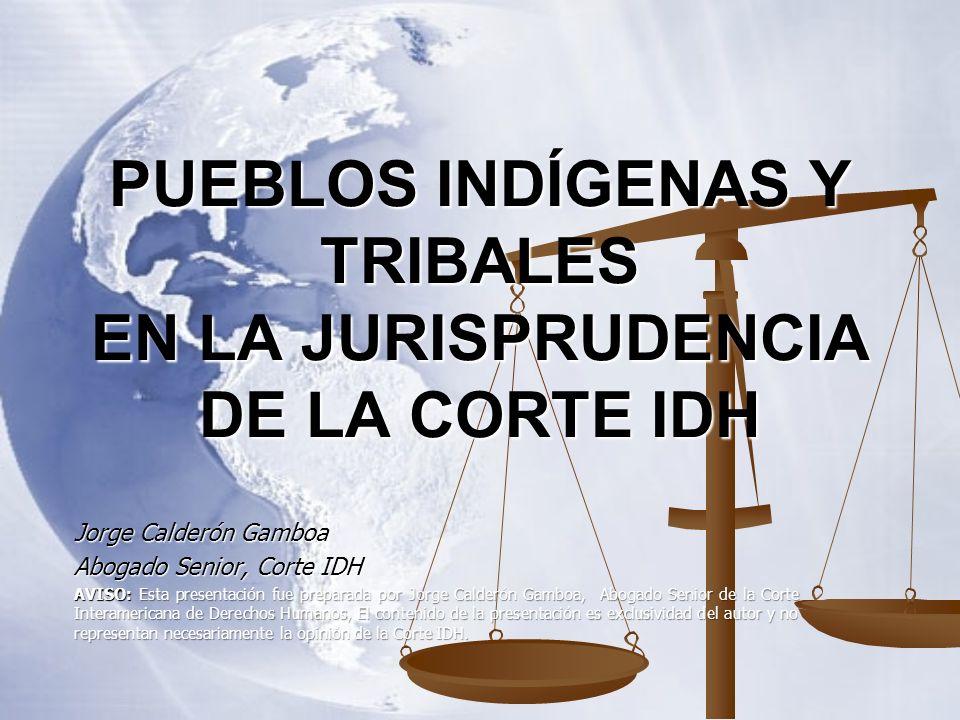 PUEBLOS INDÍGENAS Y TRIBALES EN LA JURISPRUDENCIA DE LA CORTE IDH Jorge Calderón Gamboa Abogado Senior, Corte IDH AVISO: Esta presentación fue prepara