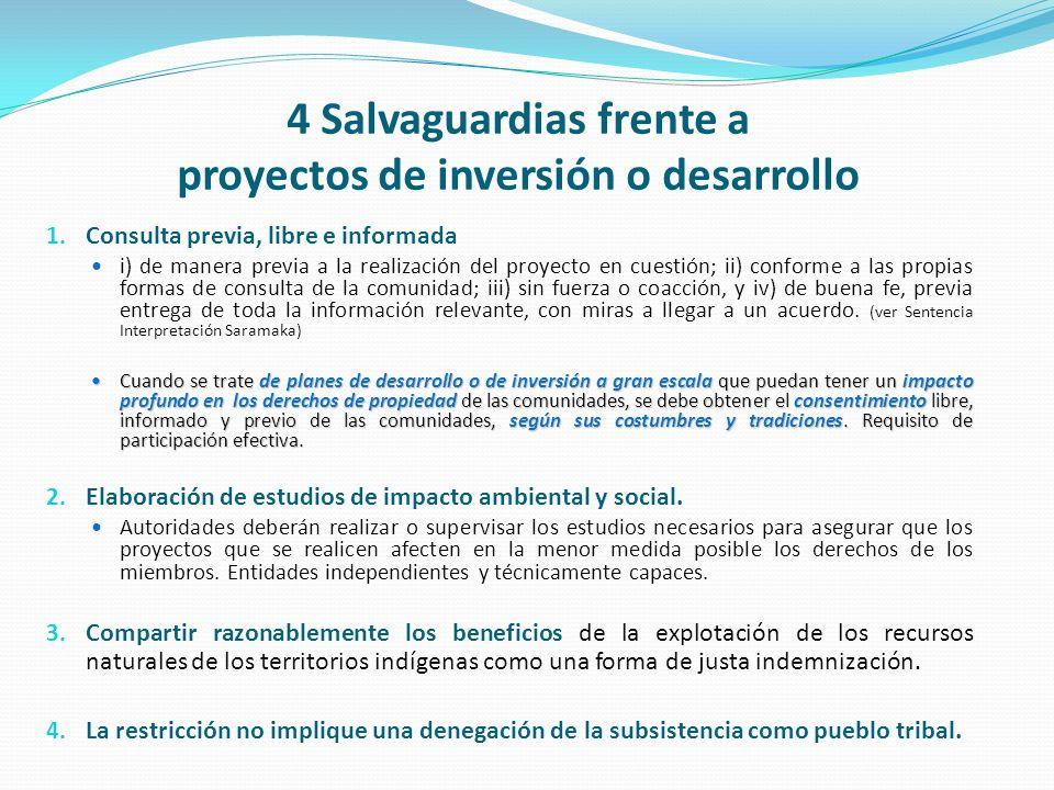 4 Salvaguardias frente a proyectos de inversión o desarrollo 1. Consulta previa, libre e informada i) de manera previa a la realización del proyecto e