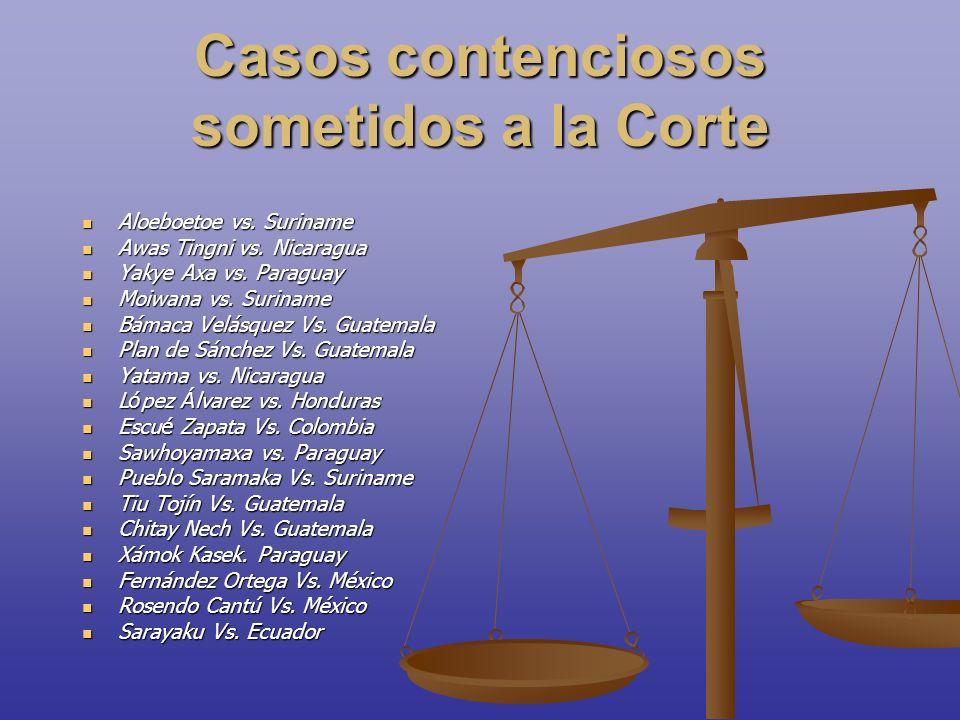 Casos contenciosos sometidos a la Corte Aloeboetoe vs. Suriname Aloeboetoe vs. Suriname Awas Tingni vs. Nicaragua Awas Tingni vs. Nicaragua Yakye Axa