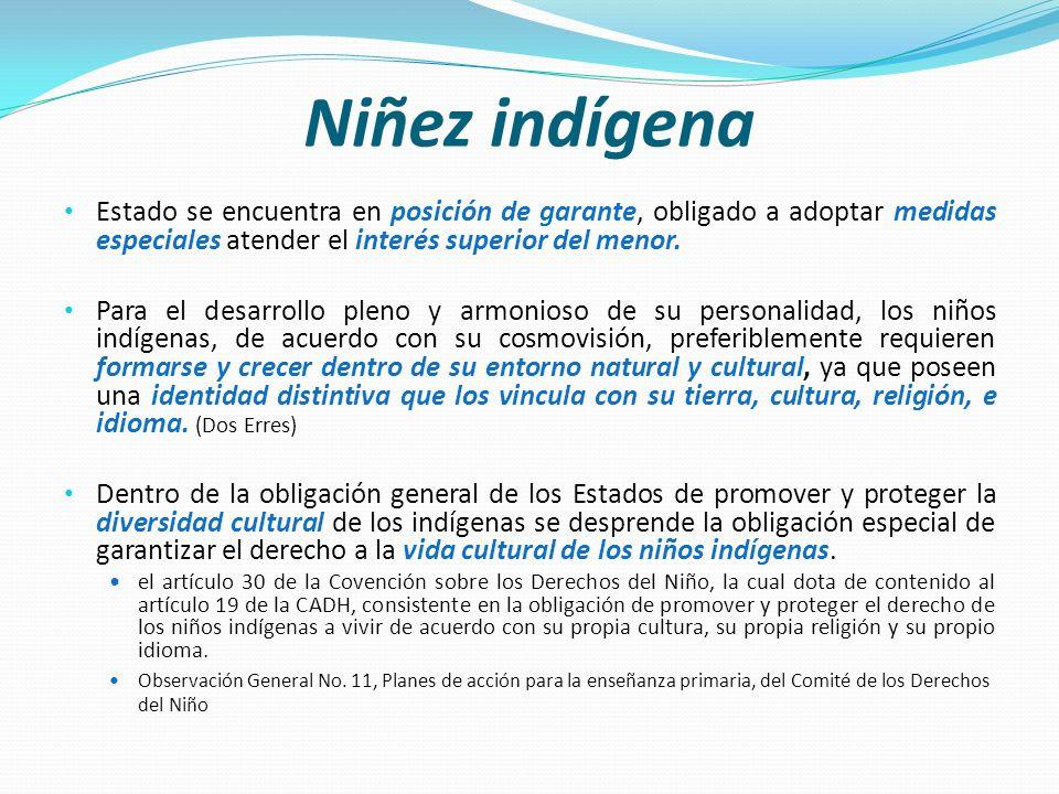 Niñez indígena Estado se encuentra en posición de garante, obligado a adoptar medidas especiales atender el interés superior del menor. Para el desarr