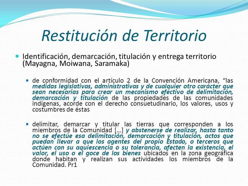 Restitución de Territorio Identificación, demarcación, titulación y entrega territorio (Mayagna, Moiwana, Saramaka) de conformidad con el artículo 2 d