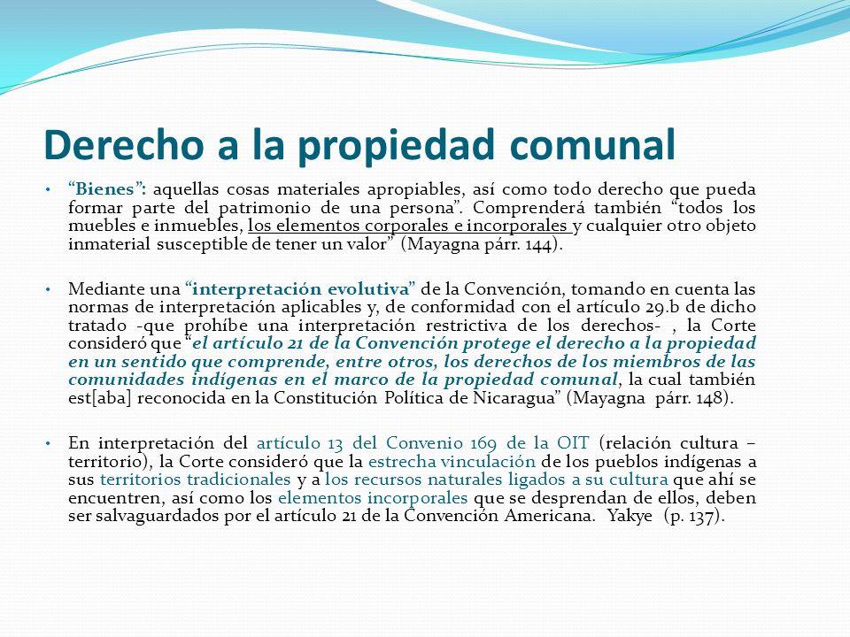 Derecho a la propiedad comunal Bienes: aquellas cosas materiales apropiables, así como todo derecho que pueda formar parte del patrimonio de una perso