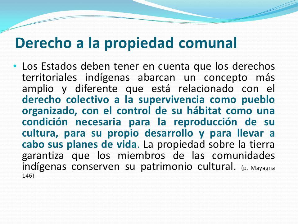 Derecho a la propiedad comunal Los Estados deben tener en cuenta que los derechos territoriales indígenas abarcan un concepto más amplio y diferente q