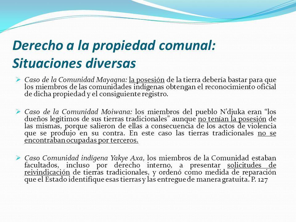 Derecho a la propiedad comunal: Situaciones diversas Caso de la Comunidad Mayagna: la posesión de la tierra debería bastar para que los miembros de la