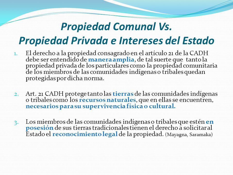 Propiedad Comunal Vs. Propiedad Privada e Intereses del Estado 1.El derecho a la propiedad consagrado en el artículo 21 de la CADH debe ser entendido