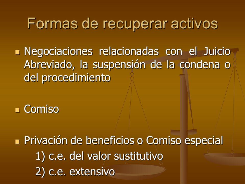 Formas de recuperar activos Negociaciones relacionadas con el Juicio Abreviado, la suspensión de la condena o del procedimiento Negociaciones relacion