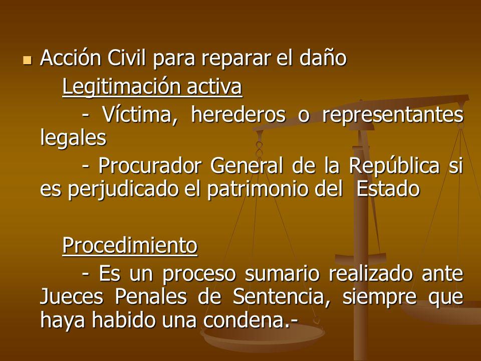 Acción Civil para reparar el daño Acción Civil para reparar el daño Legitimación activa Legitimación activa - Víctima, herederos o representantes lega