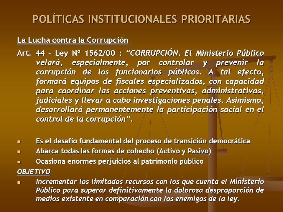 La Lucha contra la Corrupción Art. 44 – Ley Nº 1562/00 : CORRUPCIÓN. El Ministerio Público velará, especialmente, por controlar y prevenir la corrupci