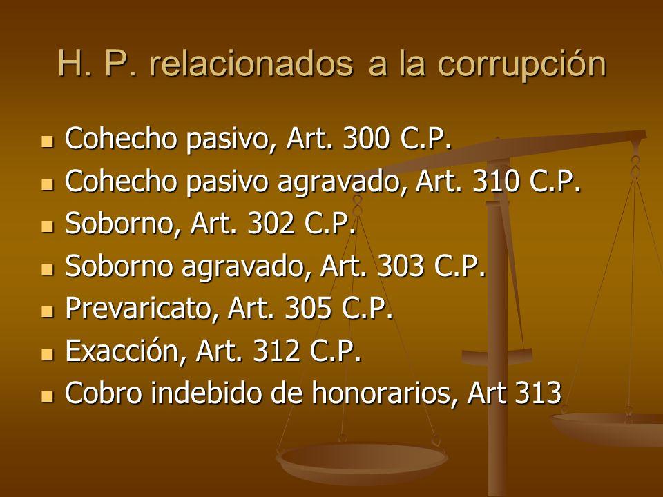 H. P. relacionados a la corrupción Cohecho pasivo, Art. 300 C.P. Cohecho pasivo, Art. 300 C.P. Cohecho pasivo agravado, Art. 310 C.P. Cohecho pasivo a