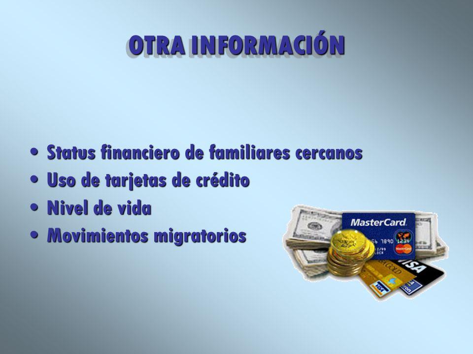 OTRA INFORMACIÓN Status financiero de familiares cercanosStatus financiero de familiares cercanos Uso de tarjetas de créditoUso de tarjetas de crédito