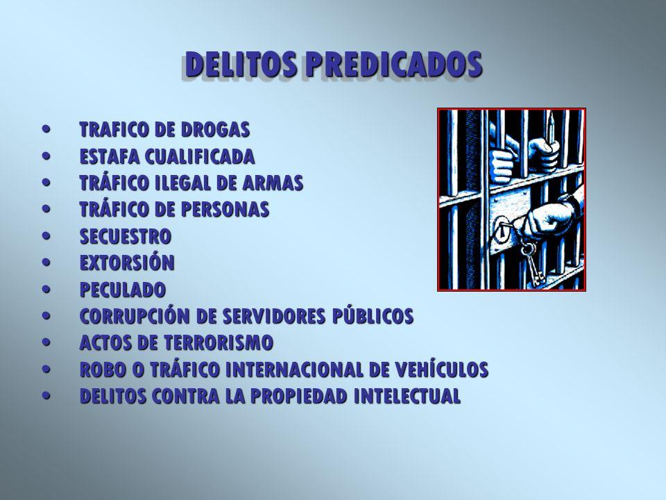 DELITOS PREDICADOS TRAFICO DE DROGASTRAFICO DE DROGAS ESTAFA CUALIFICADAESTAFA CUALIFICADA TRÁFICO ILEGAL DE ARMASTRÁFICO ILEGAL DE ARMAS TRÁFICO DE P