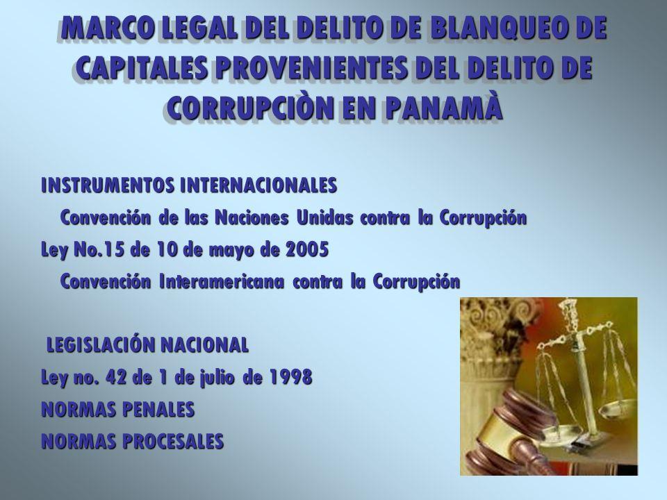 MARCO LEGAL DEL DELITO DE BLANQUEO DE CAPITALES PROVENIENTES DEL DELITO DE CORRUPCIÒN EN PANAMÀ INSTRUMENTOS INTERNACIONALES Convención de las Nacione