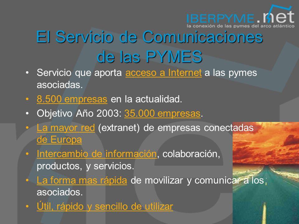 El Servicio de Comunicaciones de las PYMES Servicio que aporta acceso a Internet a las pymes asociadas.
