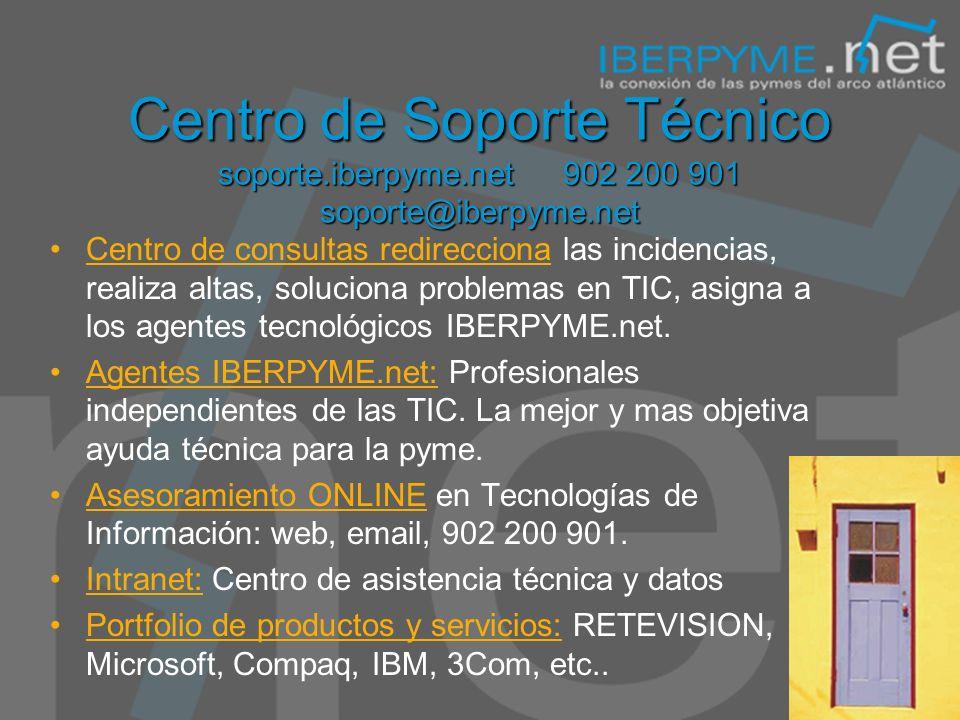 Centro de Soporte Técnico soporte.iberpyme.net 902 200 901 soporte@iberpyme.net Centro de consultas redirecciona las incidencias, realiza altas, soluciona problemas en TIC, asigna a los agentes tecnológicos IBERPYME.net.