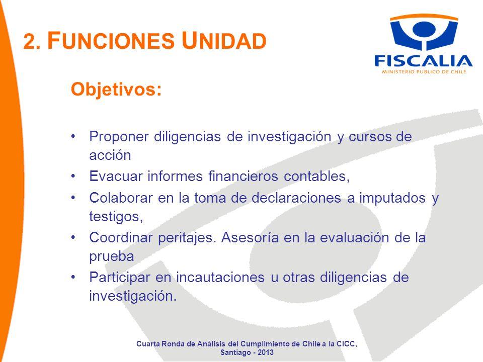 Objetivos: Proponer diligencias de investigación y cursos de acción Evacuar informes financieros contables, Colaborar en la toma de declaraciones a imputados y testigos, Coordinar peritajes.
