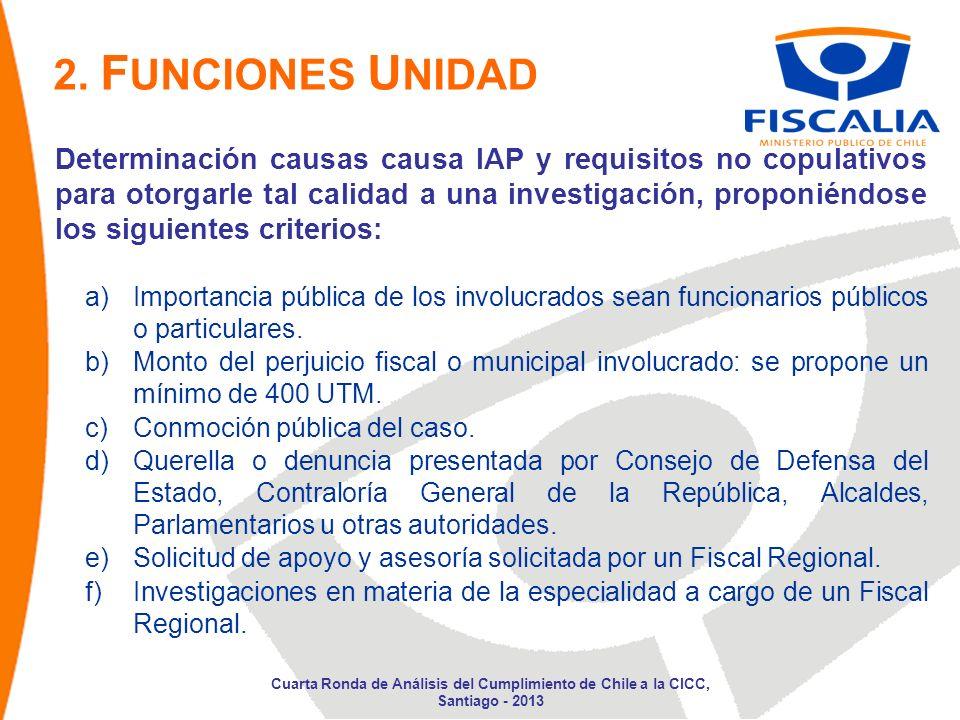 Determinación causas causa IAP y requisitos no copulativos para otorgarle tal calidad a una investigación, proponiéndose los siguientes criterios: a)Importancia pública de los involucrados sean funcionarios públicos o particulares.