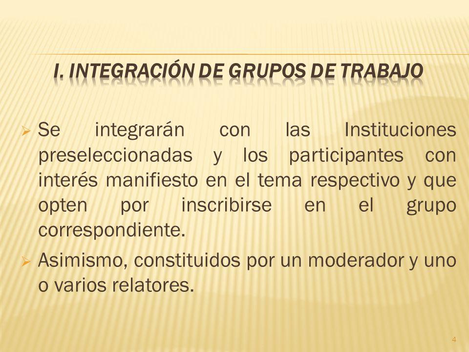 Se integrarán con las Instituciones preseleccionadas y los participantes con interés manifiesto en el tema respectivo y que opten por inscribirse en el grupo correspondiente.