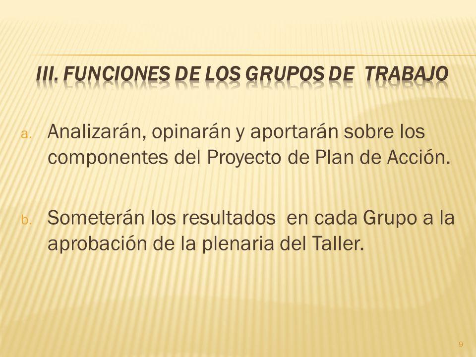 a. Analizarán, opinarán y aportarán sobre los componentes del Proyecto de Plan de Acción.