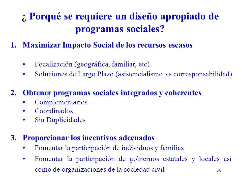 36 ¿ Porqué se requiere un diseño apropiado de programas sociales.