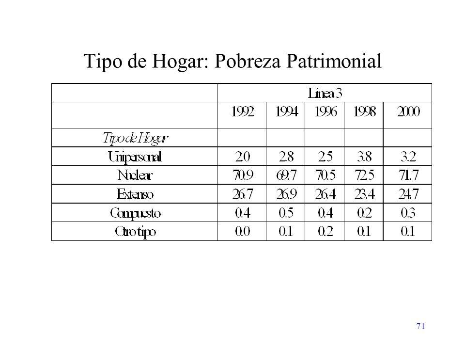 71 Tipo de Hogar: Pobreza Patrimonial