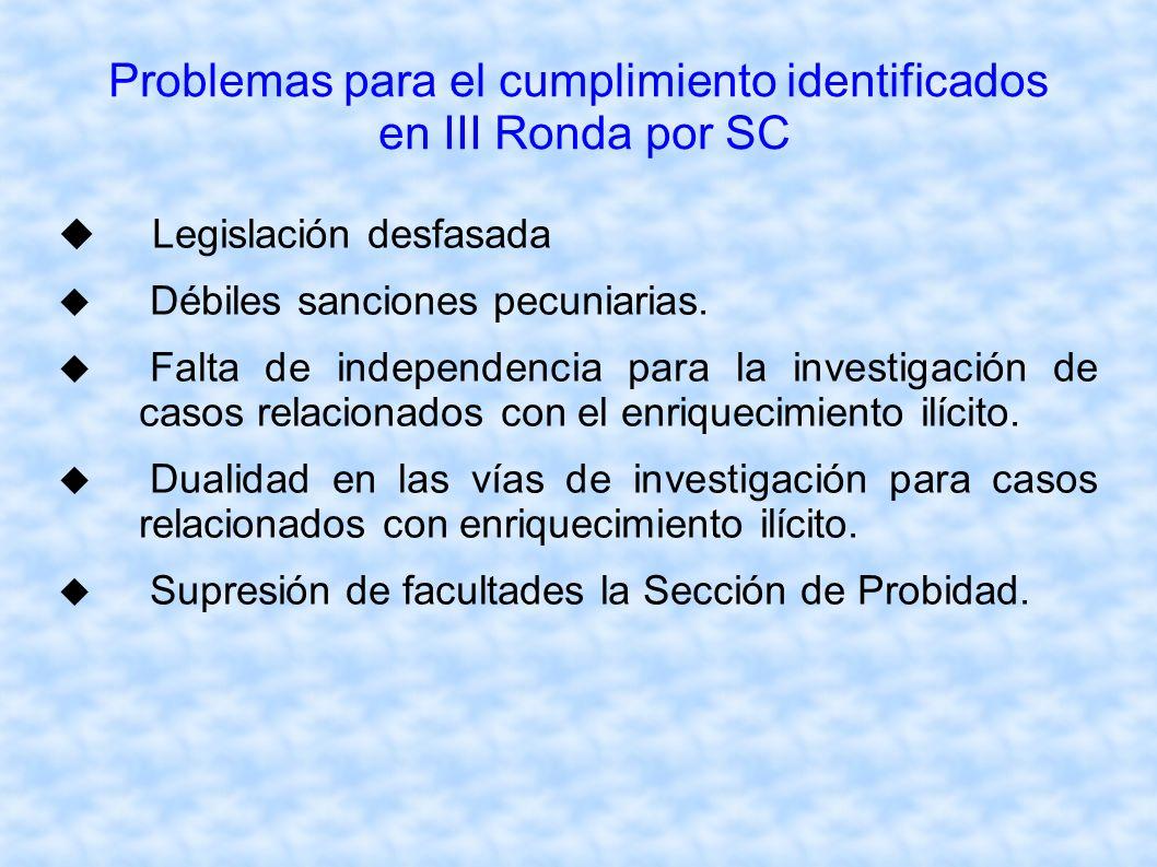 Problemas para el cumplimiento identificados en III Ronda por SC Legislación desfasada Débiles sanciones pecuniarias. Falta de independencia para la i