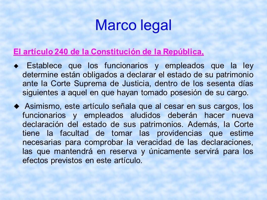 Marco legal El artículo 240 de la Constitución de la República, Establece que los funcionarios y empleados que la ley determine están obligados a decl