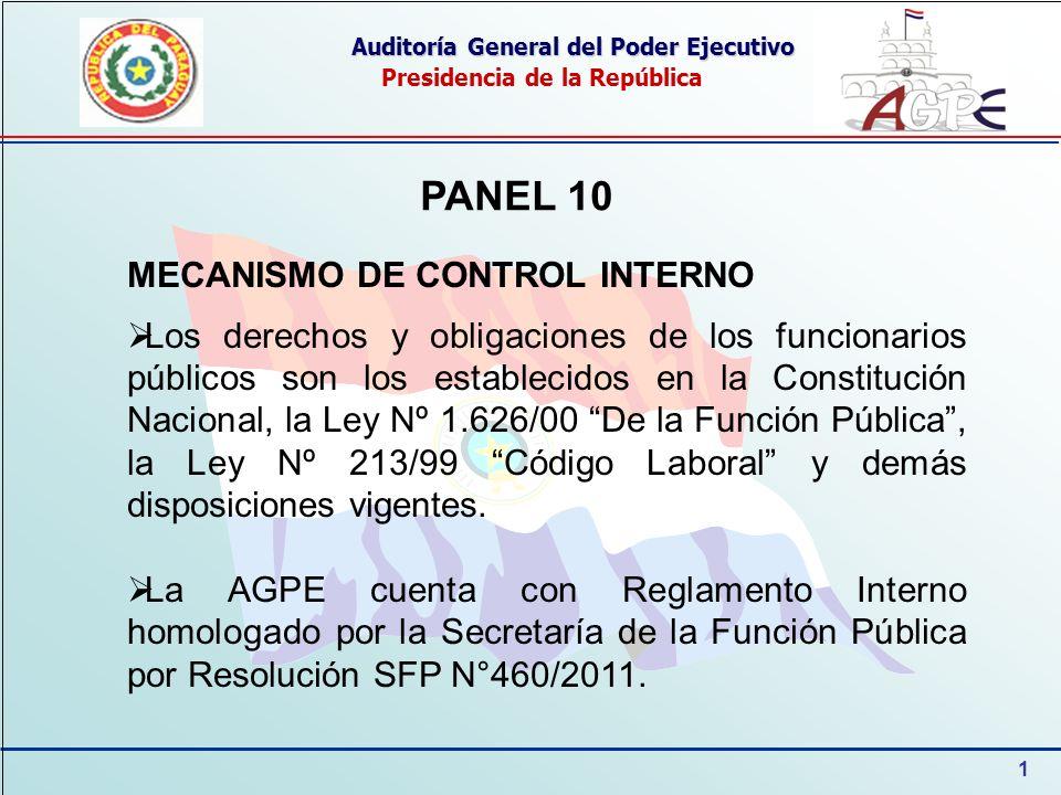 1 Auditoría General del Poder Ejecutivo Presidencia de la República PANEL 10 MECANISMO DE CONTROL INTERNO Los derechos y obligaciones de los funcionar