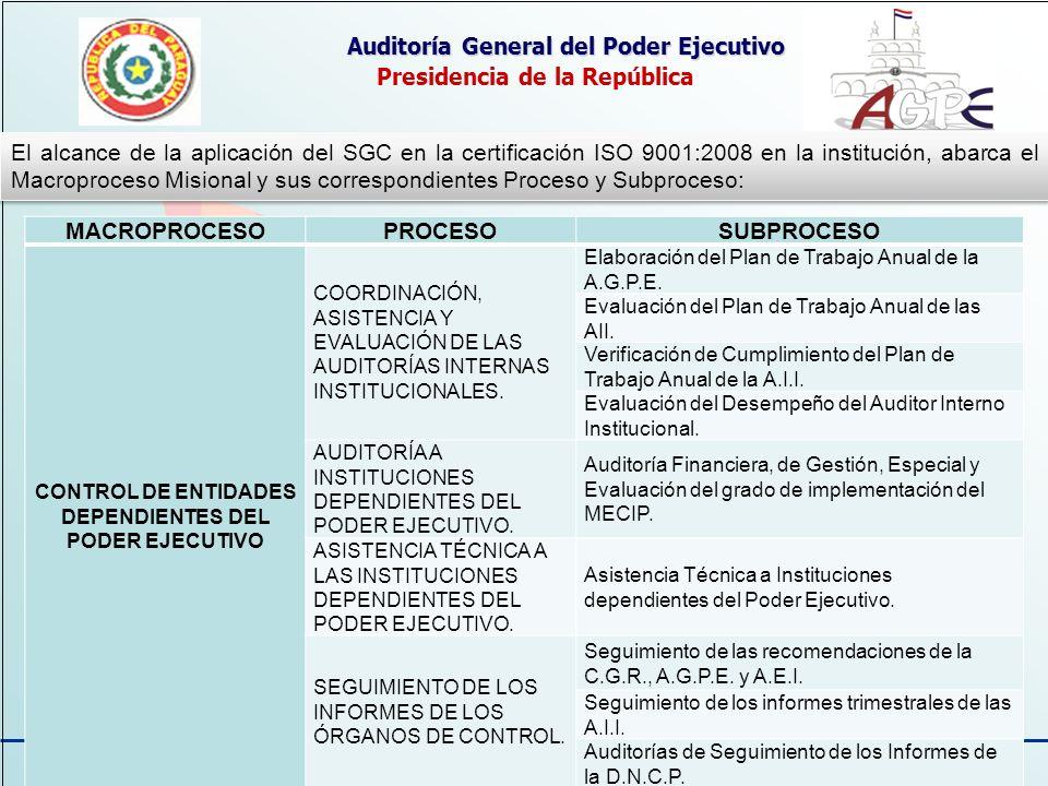 13 Auditoría General del Poder Ejecutivo Presidencia de la República El alcance de la aplicación del SGC en la certificación ISO 9001:2008 en la insti