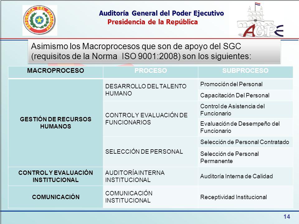 14 Auditoría General del Poder Ejecutivo Presidencia de la República Asimismo los Macroprocesos que son de apoyo del SGC (requisitos de la Norma ISO 9