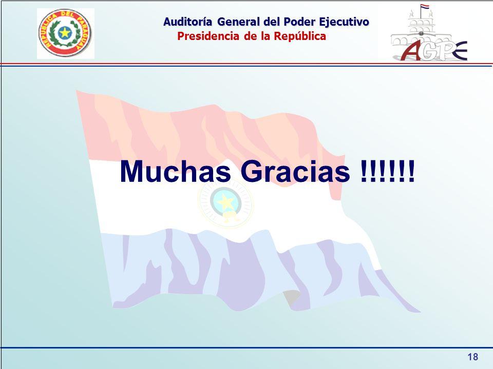 18 Auditoría General del Poder Ejecutivo Presidencia de la República Muchas Gracias !!!!!!