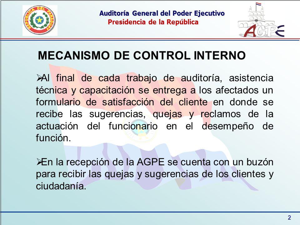 2 Auditoría General del Poder Ejecutivo Presidencia de la República MECANISMO DE CONTROL INTERNO Al final de cada trabajo de auditoría, asistencia téc